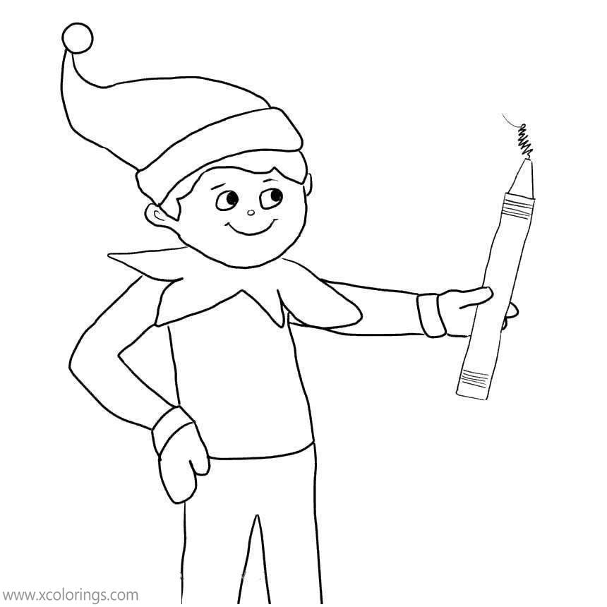 - Elf On The Shelf Coloring Pages Wordsworth Is Playing Fireworks -  XColorings.com