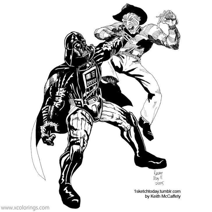 Freddy Krueger And Darth Vader Coloring Pages Xcolorings Com