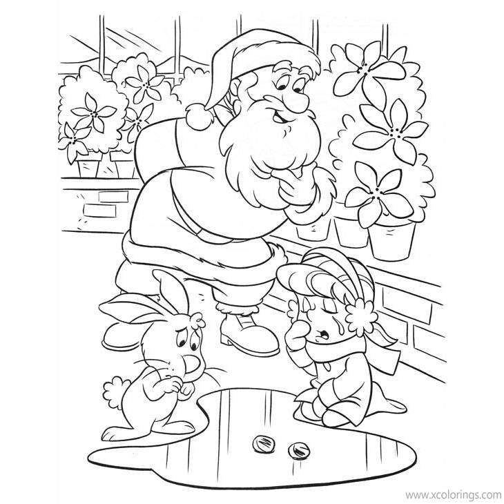 Free Frosty the Snowman Coloring Pages Karen anad Santa Claus printable