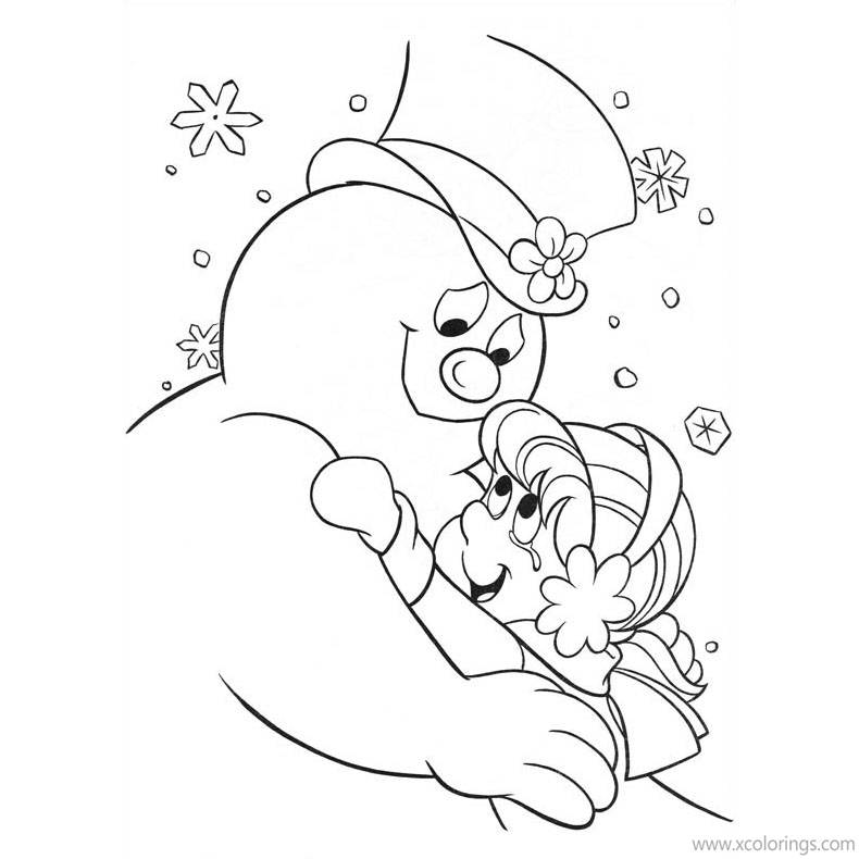 Free Frosty the Snowman Hugs Karen Coloring Pages printable