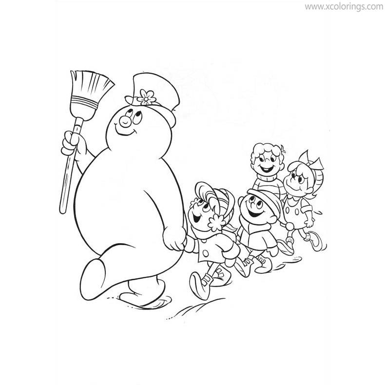 Free Frosty the Snowman and Children Coloring Pages printable