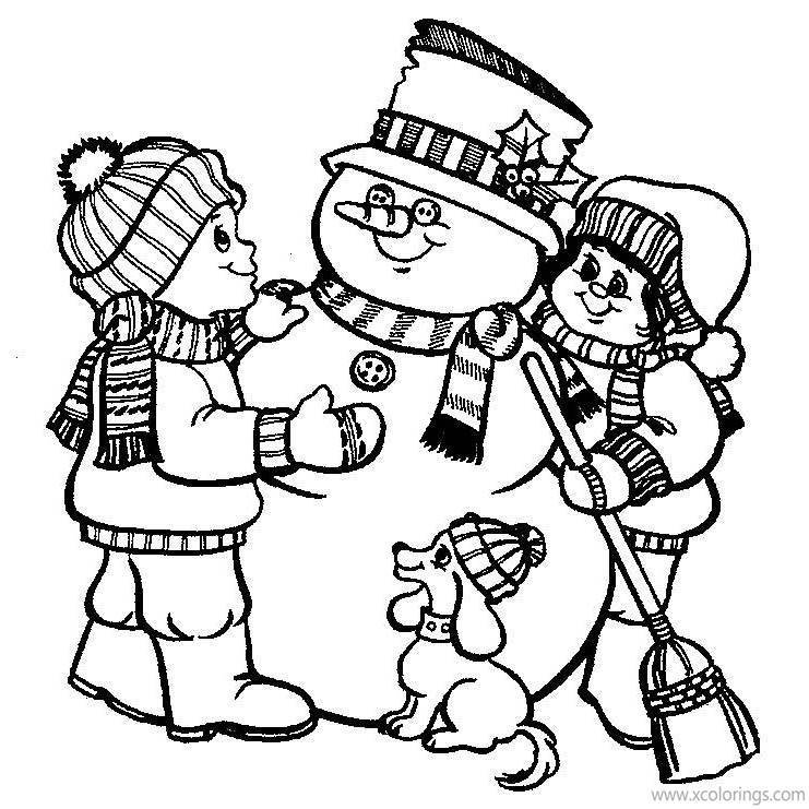 Free Frosty the Snowman and Kids Coloring Pages printable