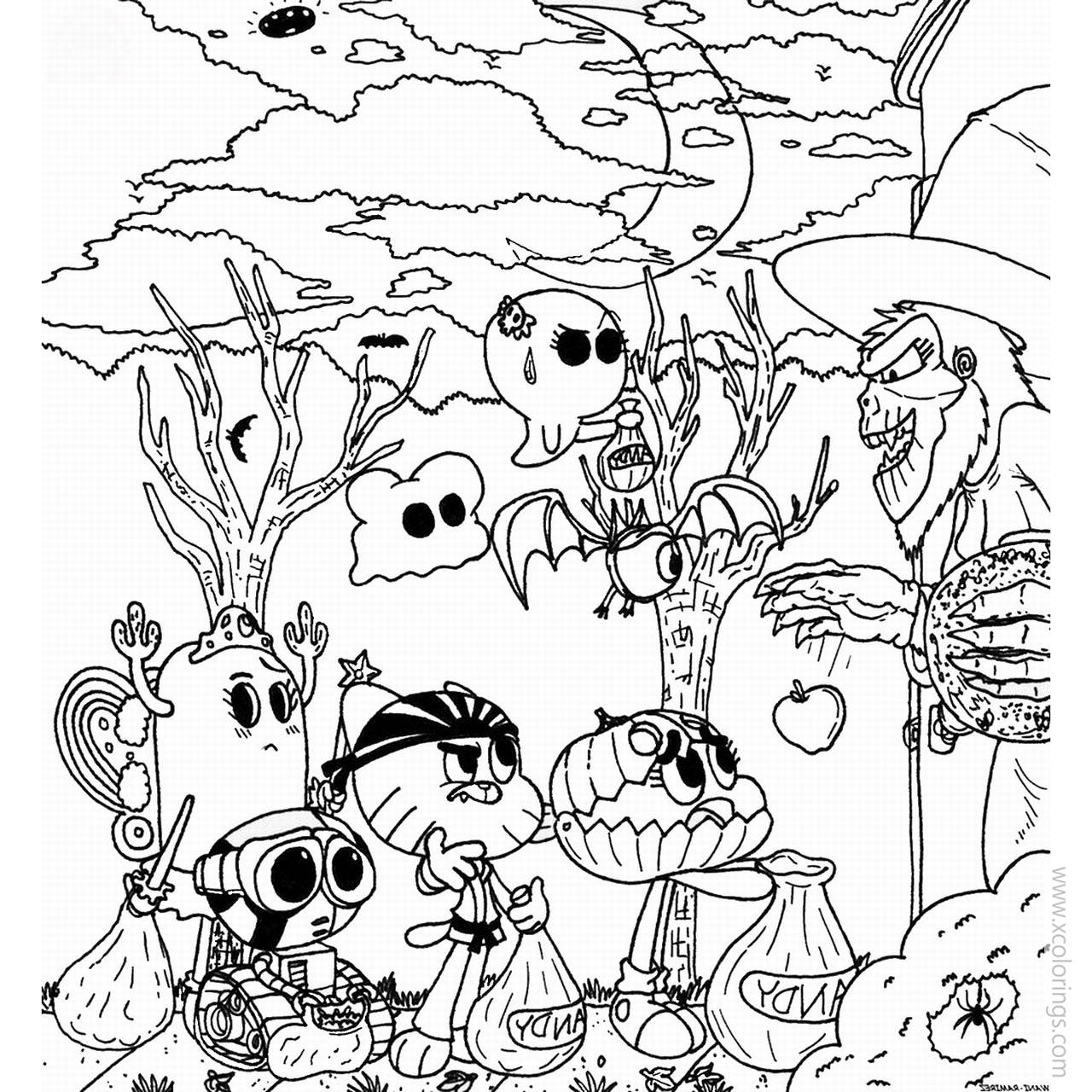 Halloween The Amazing World Of Gumball Coloring Pages Xcolorings Com