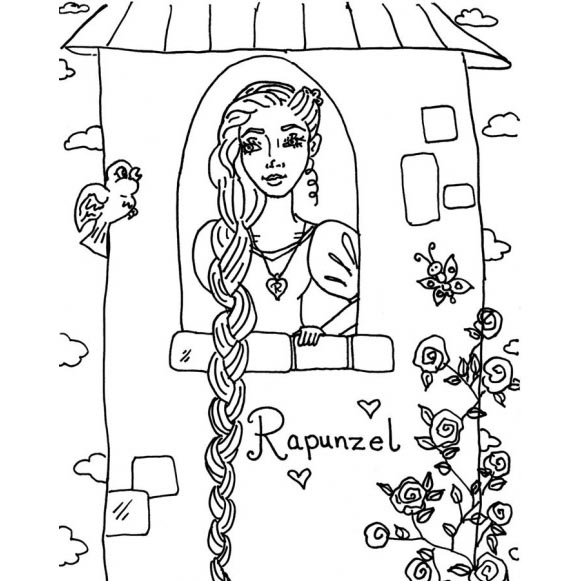 Rapunzel Coloring Pages Kids Drawing Xcolorings Com