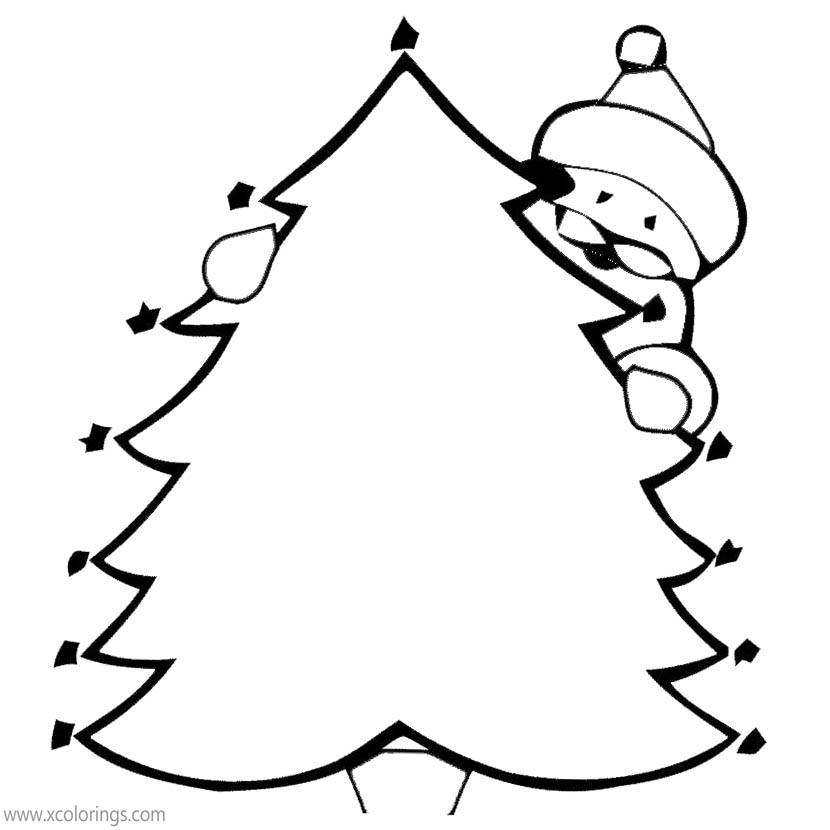 Santa Claus Behind Christmas Tree Coloring Pages - XColorings.com