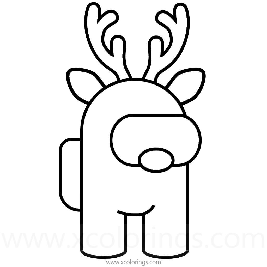 Among Us Coloring Pages Christmas Reindeer Rudolph Xcolorings Com