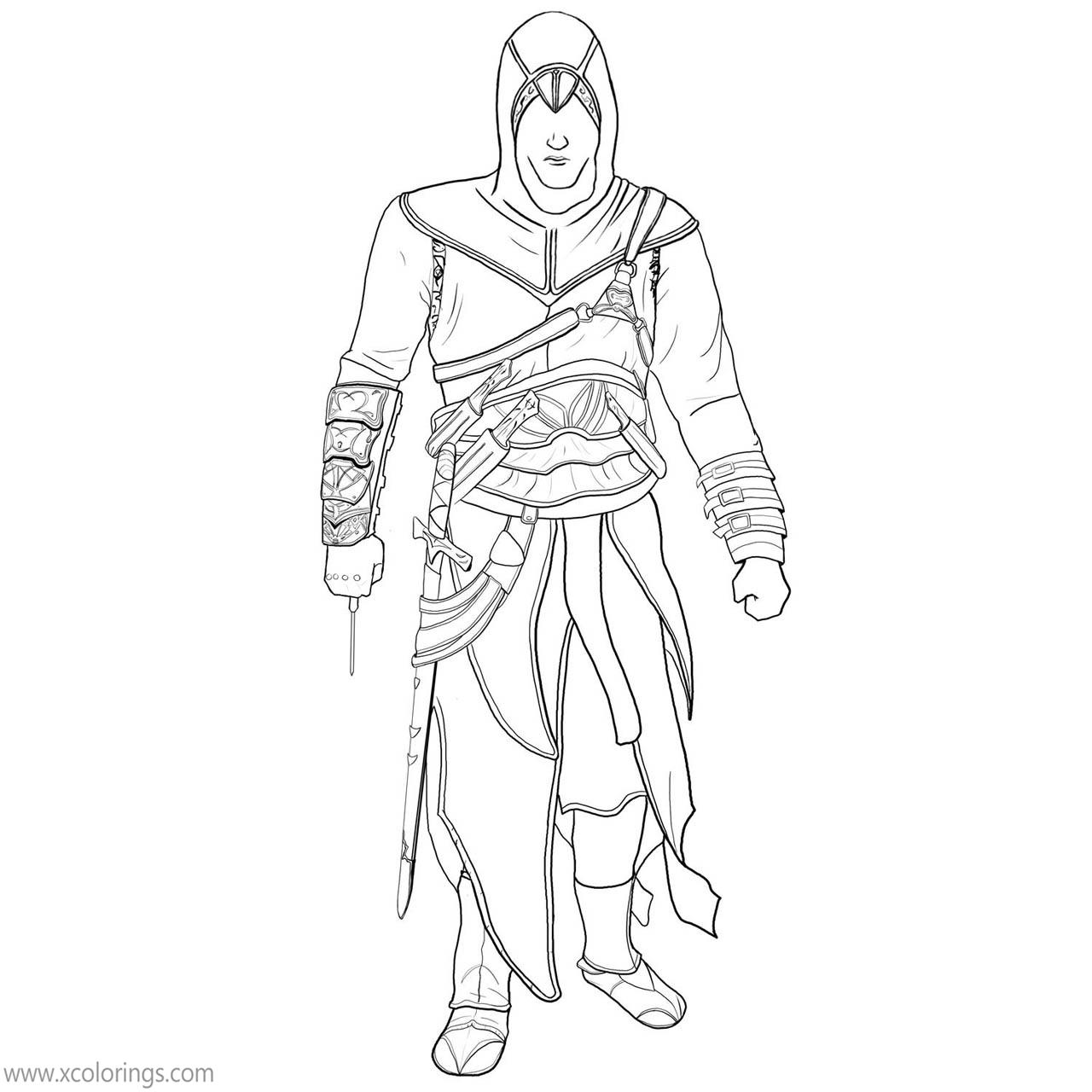 Assassin S Creed Coloring Pages Altair Linear Xcolorings Com