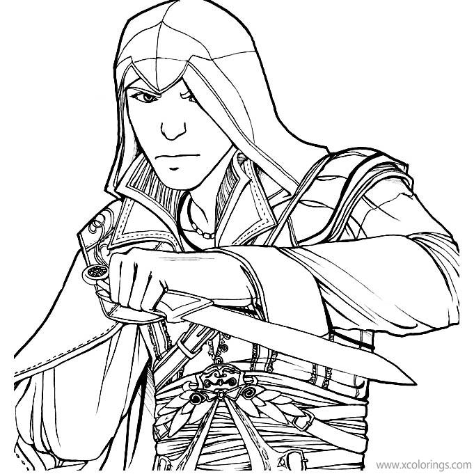 Free Assassin's Creed Coloring Pages Character Ready to Fight printable