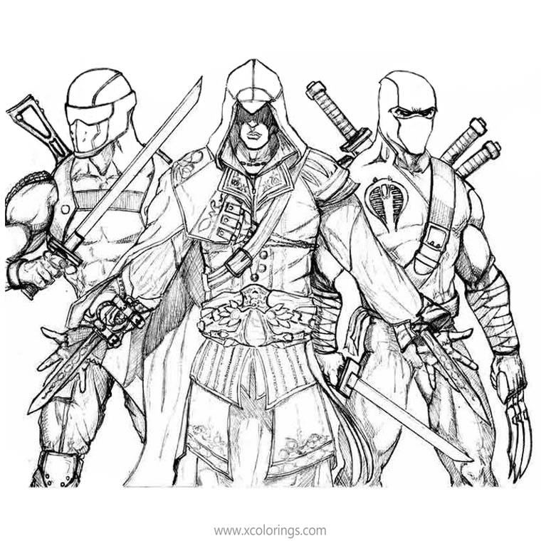 Assassin S Creed Coloring Pages Eizo And Ninja Xcolorings Com