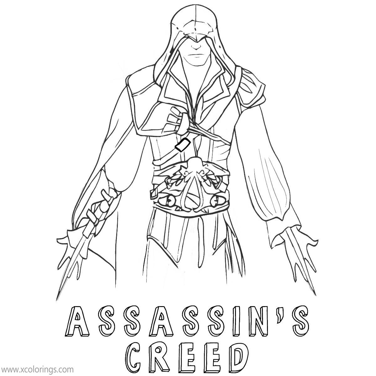 Assassin S Creed Coloring Pages Ezio Hand Drawing Xcolorings Com