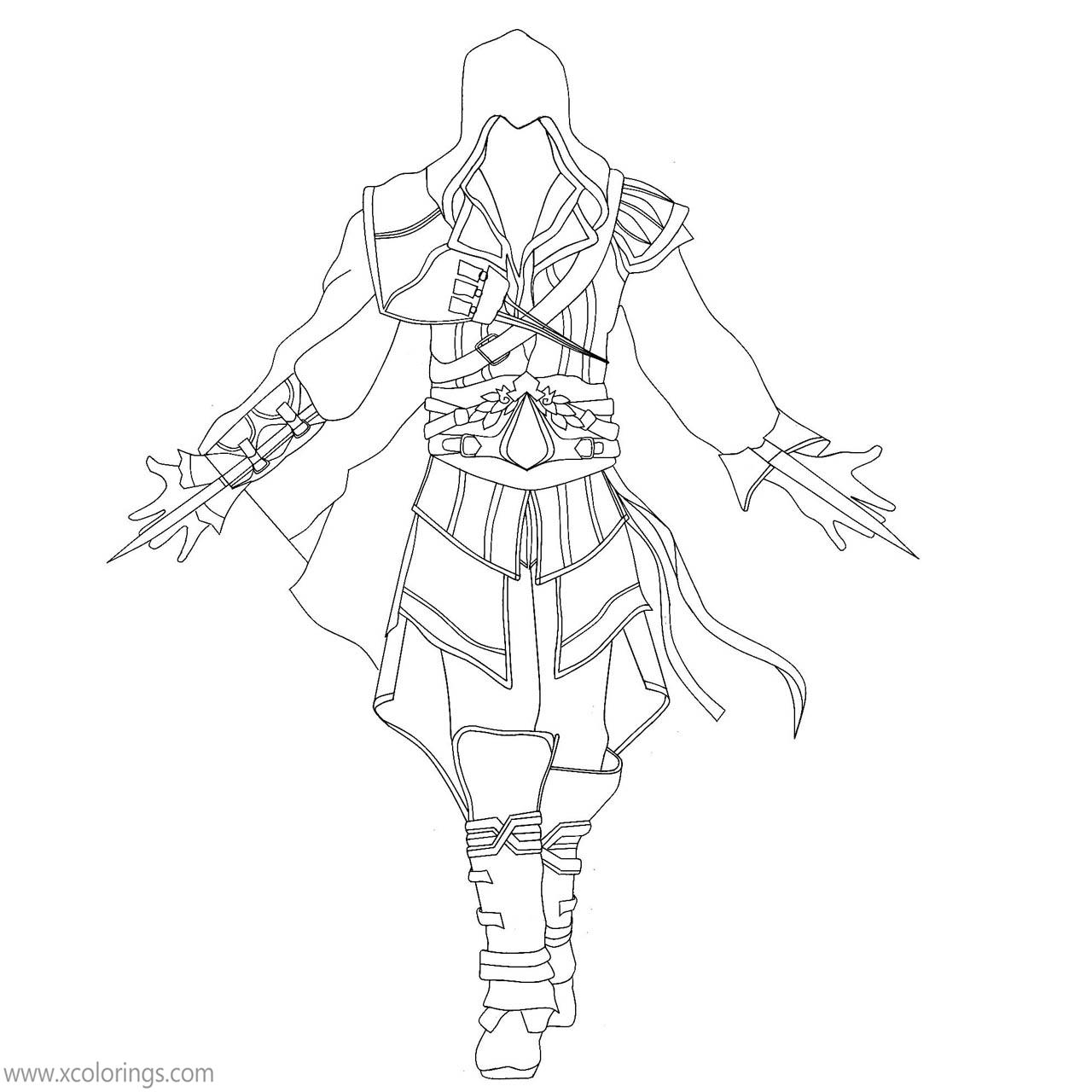 Assassin S Creed Coloring Pages Ezio Outline Drawing Xcolorings Com