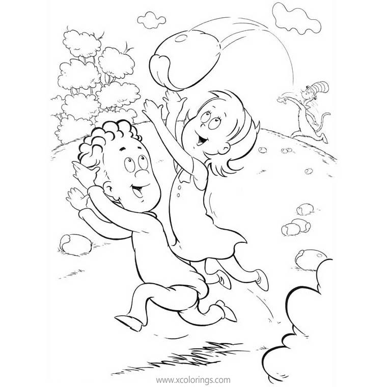Free Cat In The Hat Coloring Pages Playing with Sally and Conrad printable
