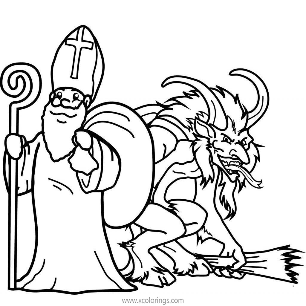 Free Krampus and Saint Nicholas Coloring Pages printable