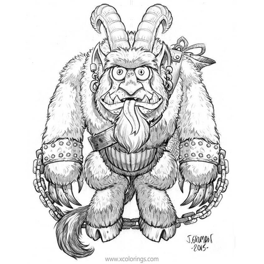 Free Krampus with Chains Coloring Pages printable