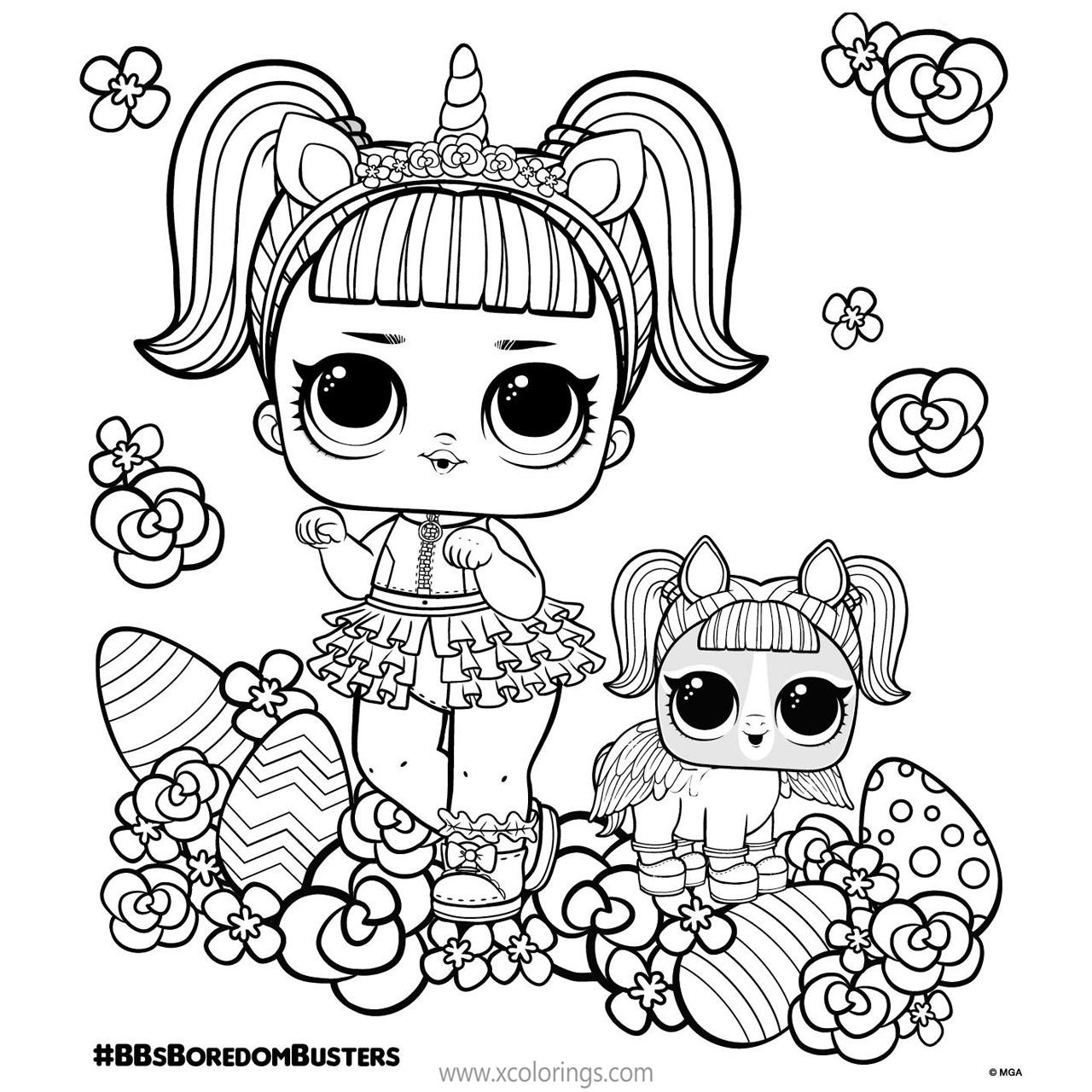 Free LOL Unicorn Coloring Pages Doll and Pet for Easter printable