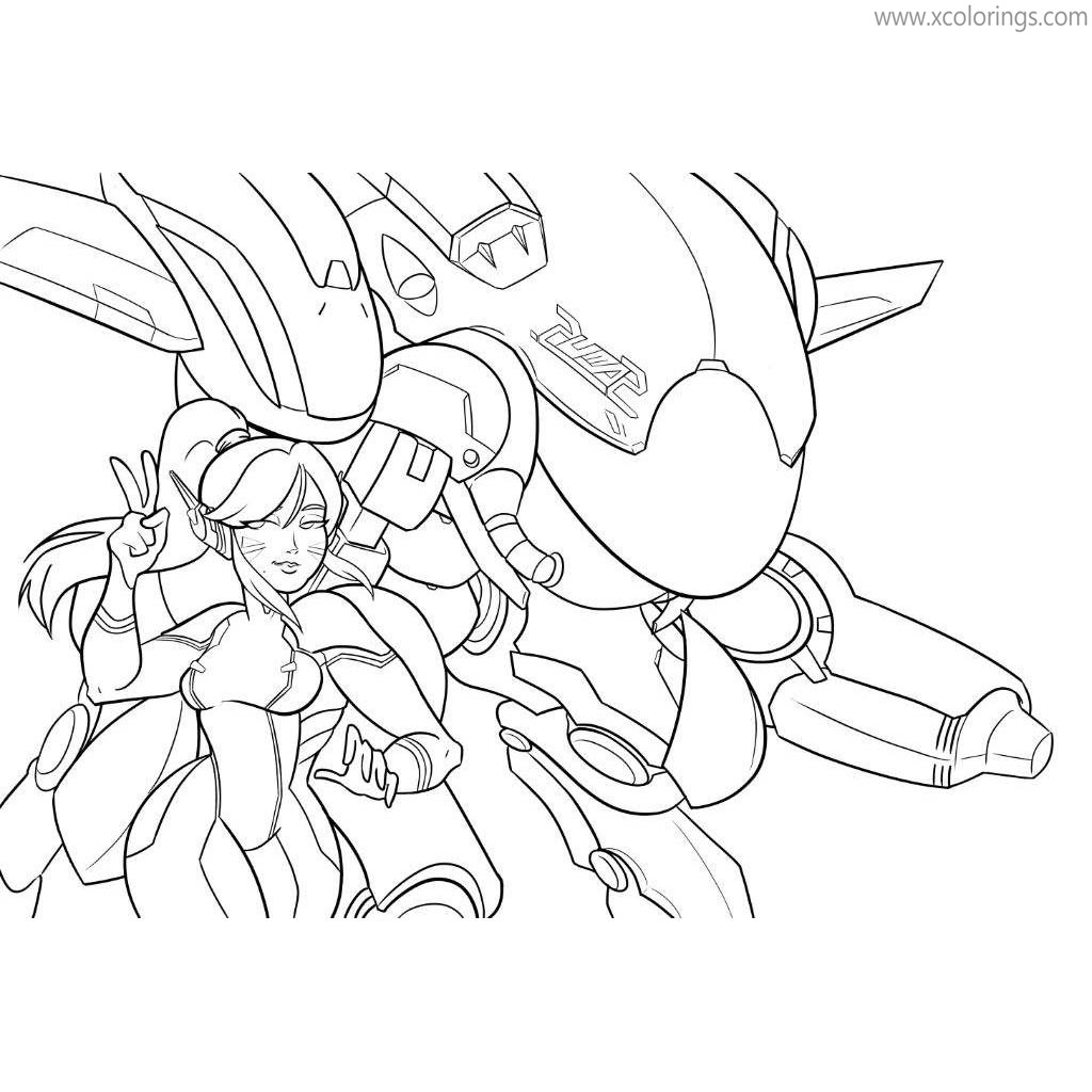 Overwatch Coloring Pages Dva And Samus Xcolorings Com