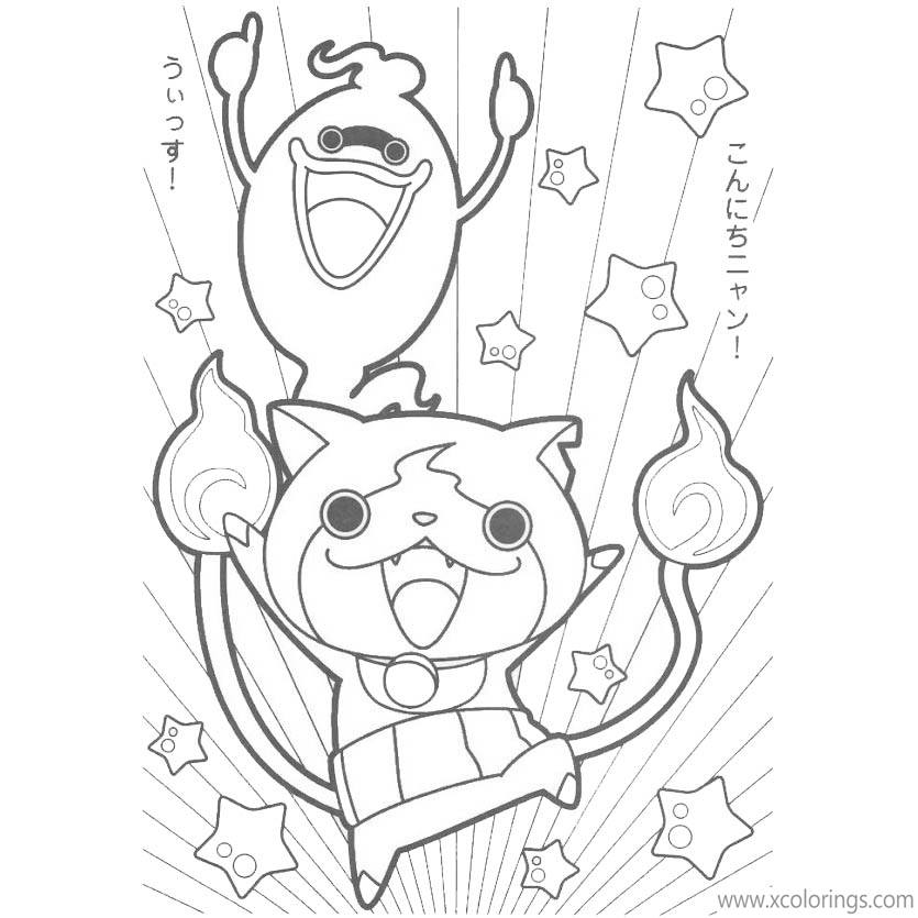 Free Yo-Kai Watch Jibanyan and Whisper Coloring Sheets printable