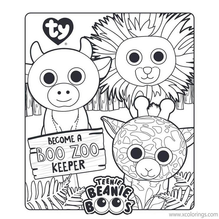 Beanie Boos Coloring Pages Boo Zoo Keeper - XColorings.com