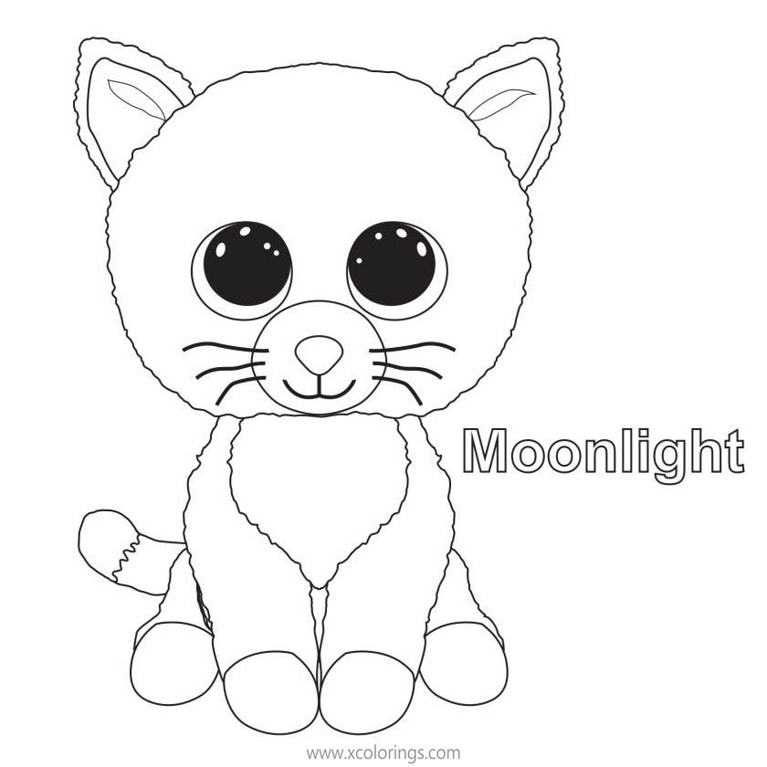 Beanie Boos Coloring Pages Cat Moonlight - XColorings.com