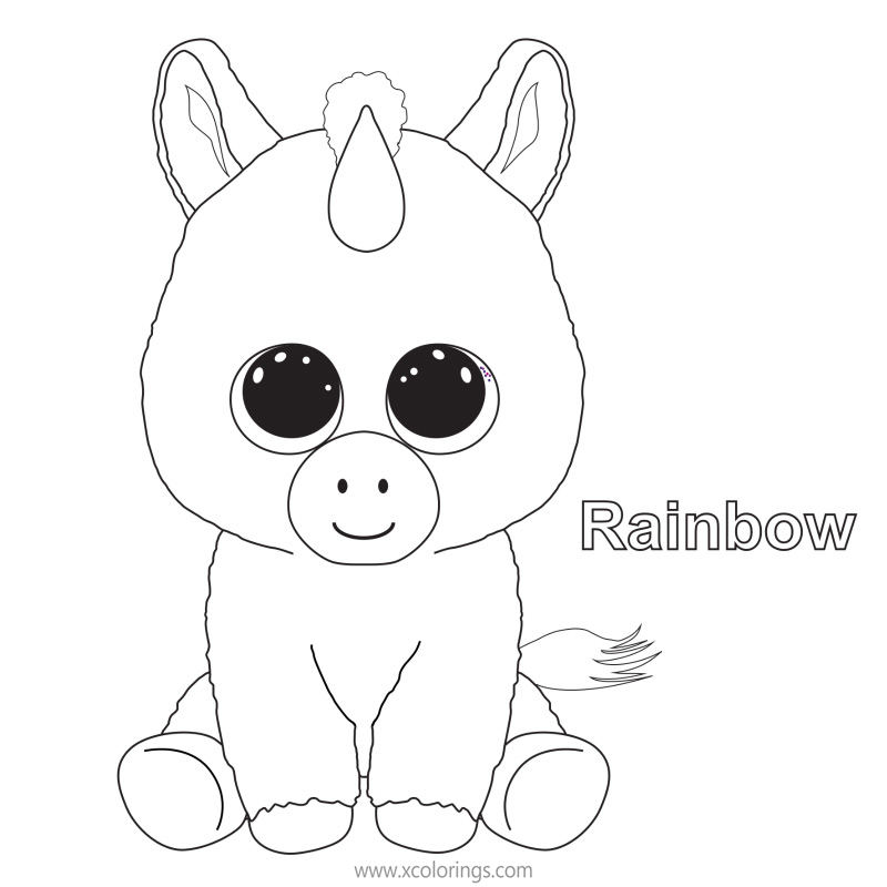Beanie Boos Coloring Pages Unicorn Rainbow - XColorings.com