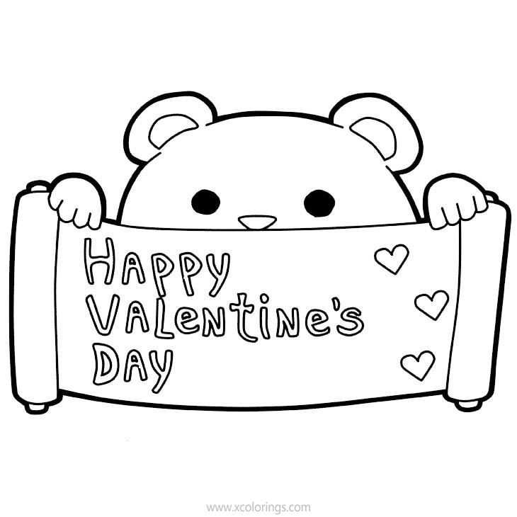 Bear Happy Valentines Day Coloring Pages - XColorings.com