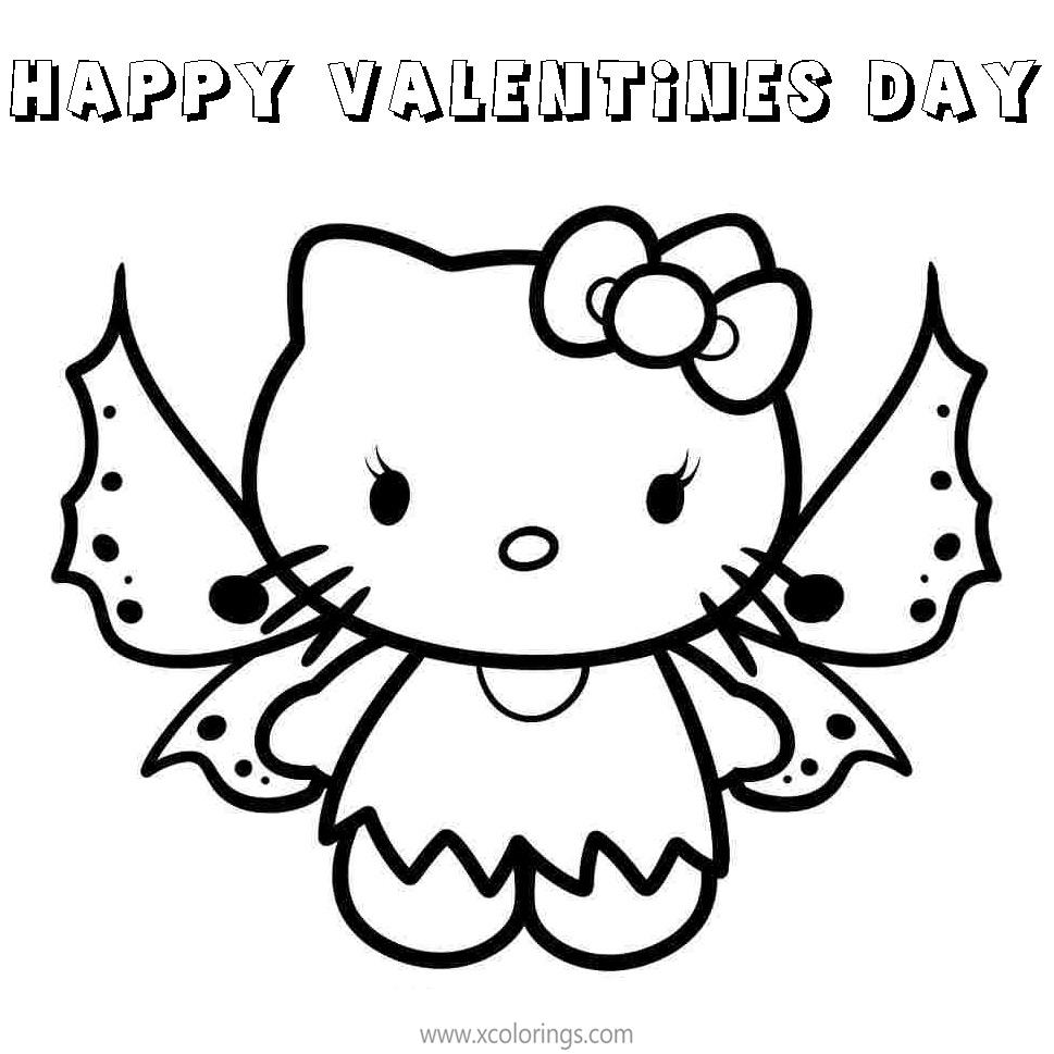 Butterfly Hello Kitty Valentines Day Coloring Pages   XColorings.com