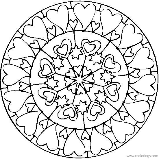 Mandala Valentines Heart Coloring Pages Xcolorings Com