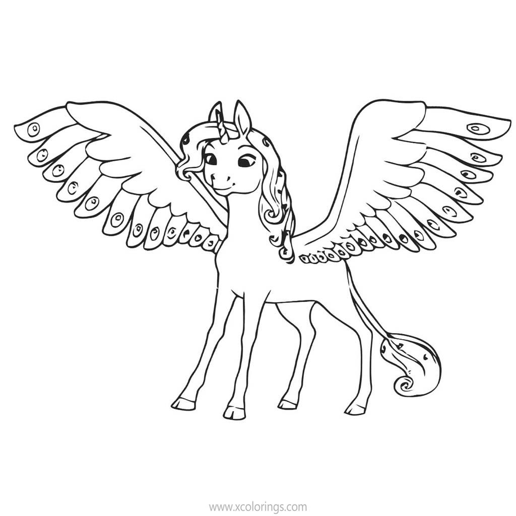 Mia And Me Coloring Pages Unicorn Onchao With Wings Xcolorings Com