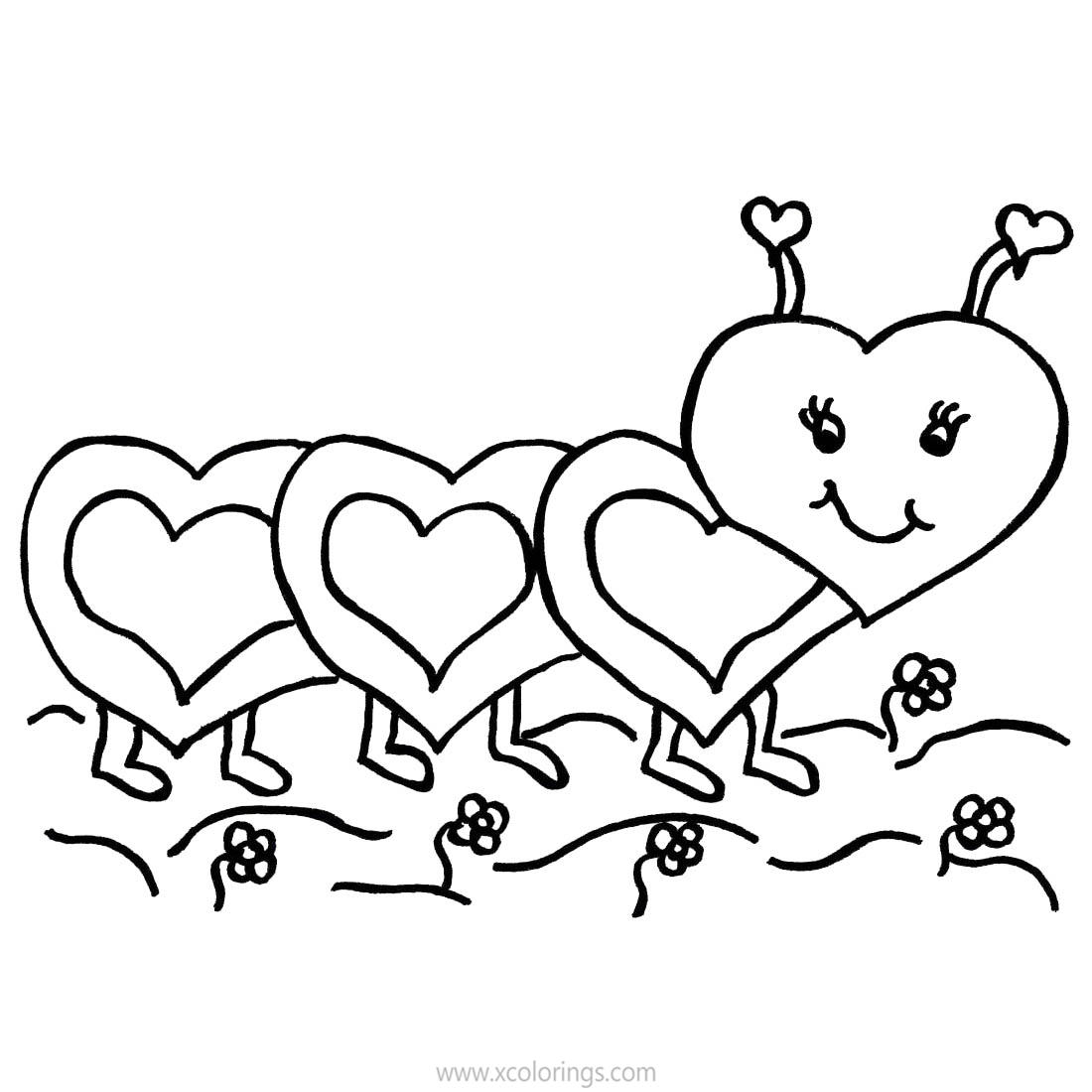 Valentines Day Caterpillar Coloring Pages Xcolorings Com