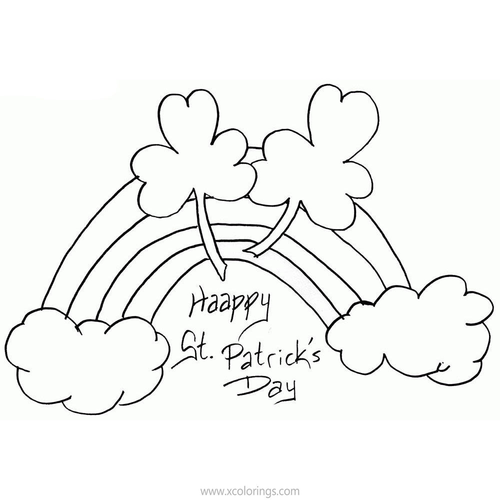 Free Happy St. Patrick's Day Coloring Pages Rainbow printable