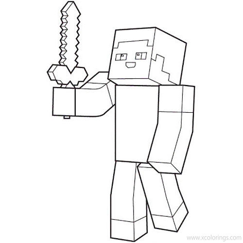 Minecraft Sword Coloring Pages Sword In Steve's Hand - XColorings.com