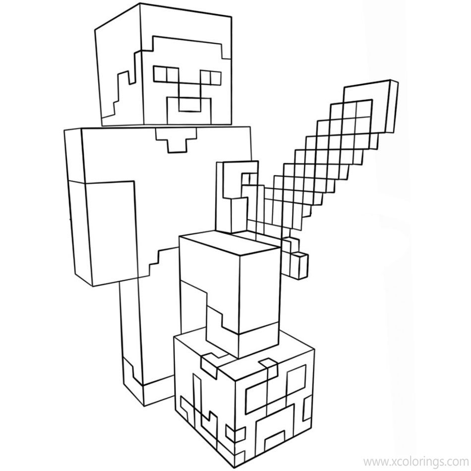 Minecraft Sword And Steve Coloring Pages Xcolorings Com