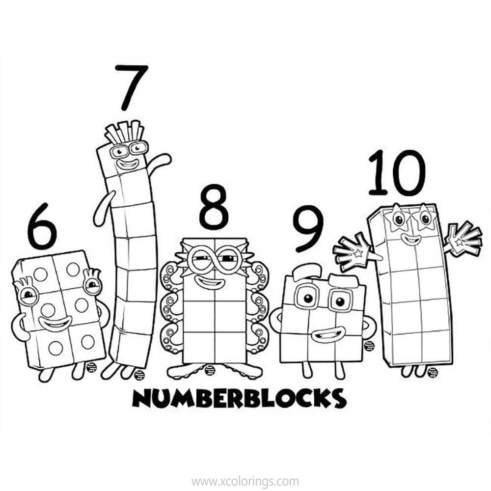 Numberblocks Coloring Pages 1 Plus 3 is 4 - XColorings.com