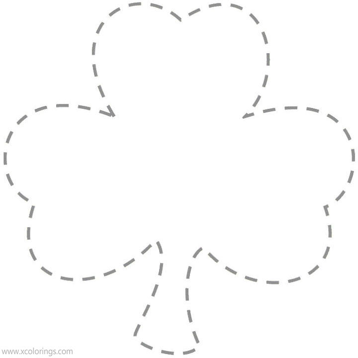 Free Shamrock Coloring Pages Shamrock Dotted Lines printable