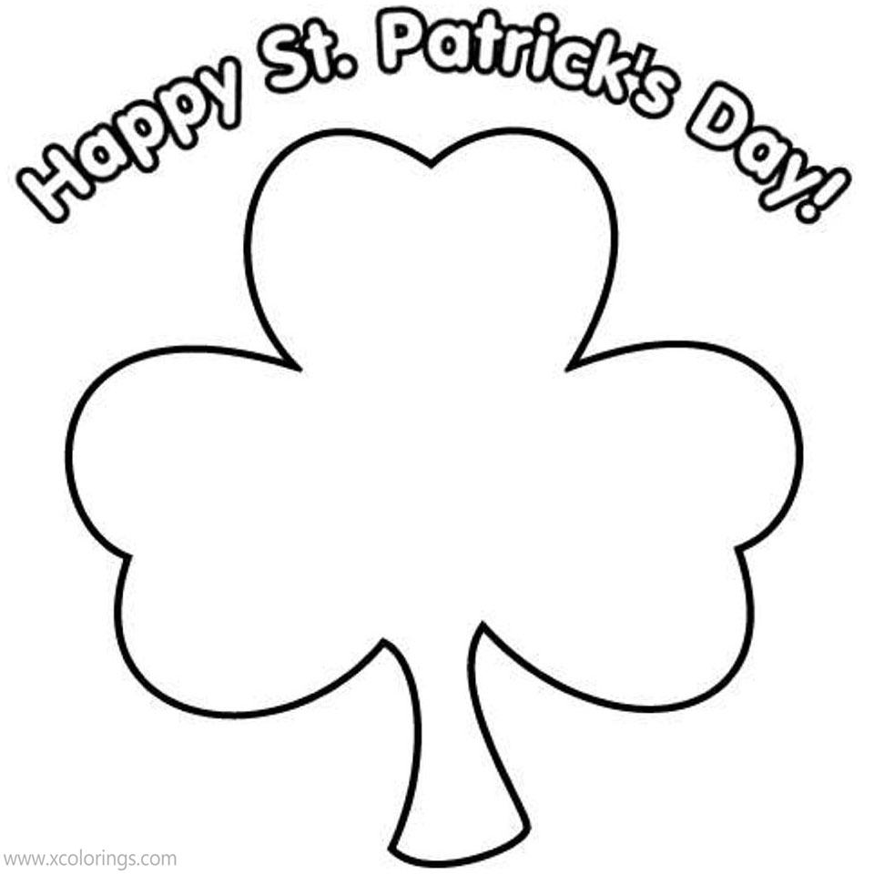 Free Shamrock Coloring Pages for Preschoolers printable