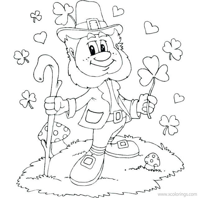 St Patrick S Day Coloring Pages Leprechaun With Shamrock Xcolorings Com