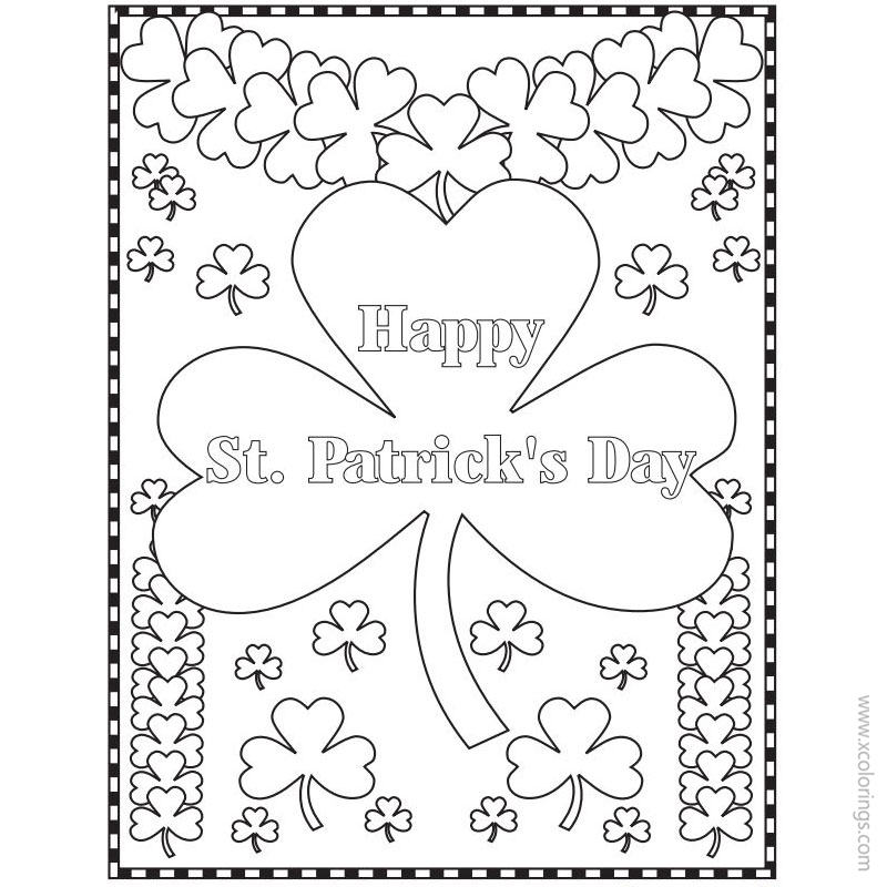 Free St. Patrick's Day Coloring Pages Shamrock Design printable