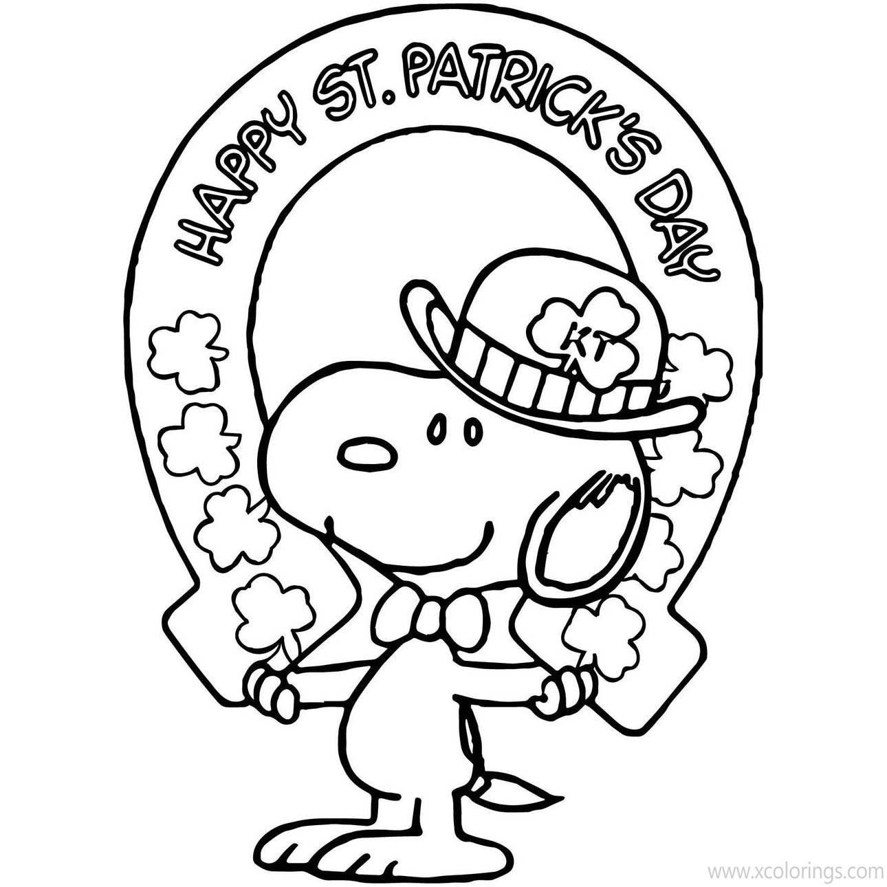 St Patrick S Day Coloring Pages Snoopy With Shamrock Xcolorings Com