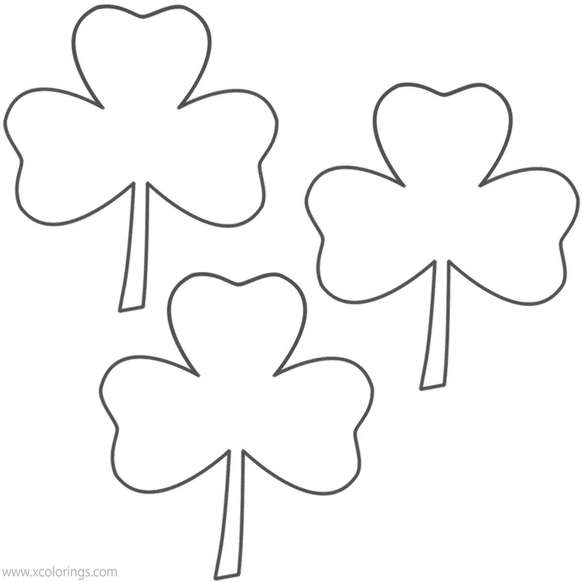 Free Three Shamrocks Coloring Pages printable