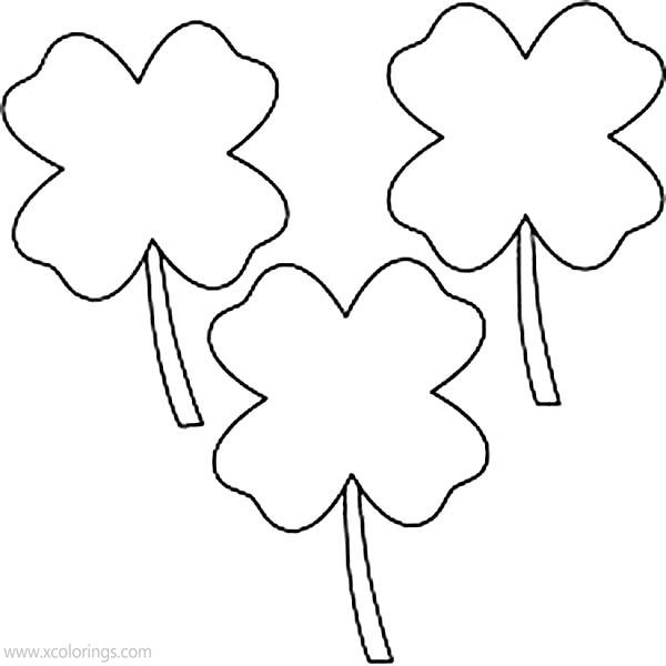 Free 4 Leaf Clover Coloring Pages Three Leaves printable
