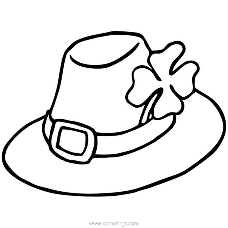 Free 4 Leaf Clover Hat Coloring Pages printable