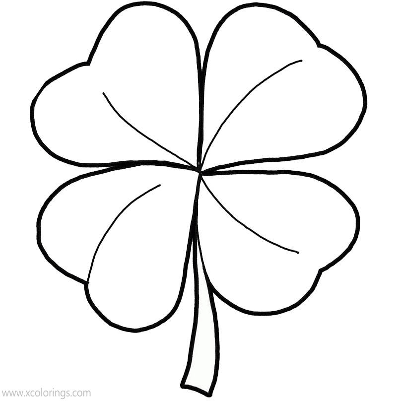Free 4 Leaf Clover with Vein Coloring Pages printable
