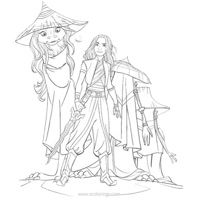 Disney Movie Raya And The Last Dragon Coloring Pages - XColorings.com