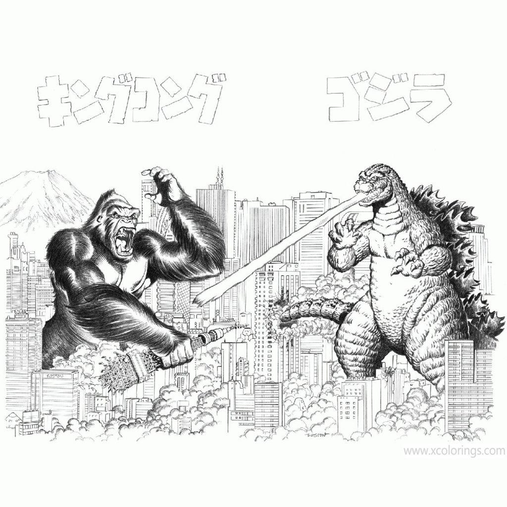 Godzilla Vs Kong Coloring Pages by kaijulord21 ...
