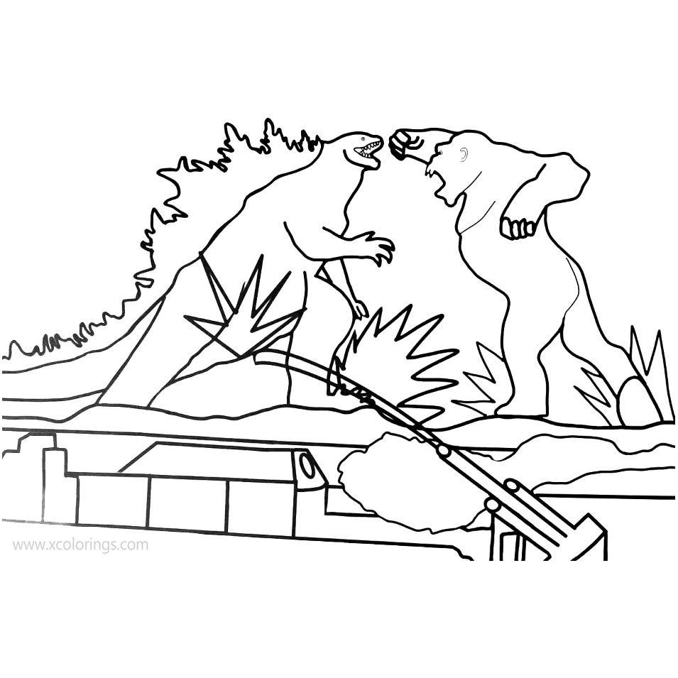 Battle of Godzilla Vs Kong Coloring Pages - XColorings.com