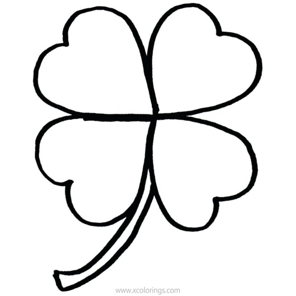Free How to Draw 4 Leaf Clover Coloring Pages printable