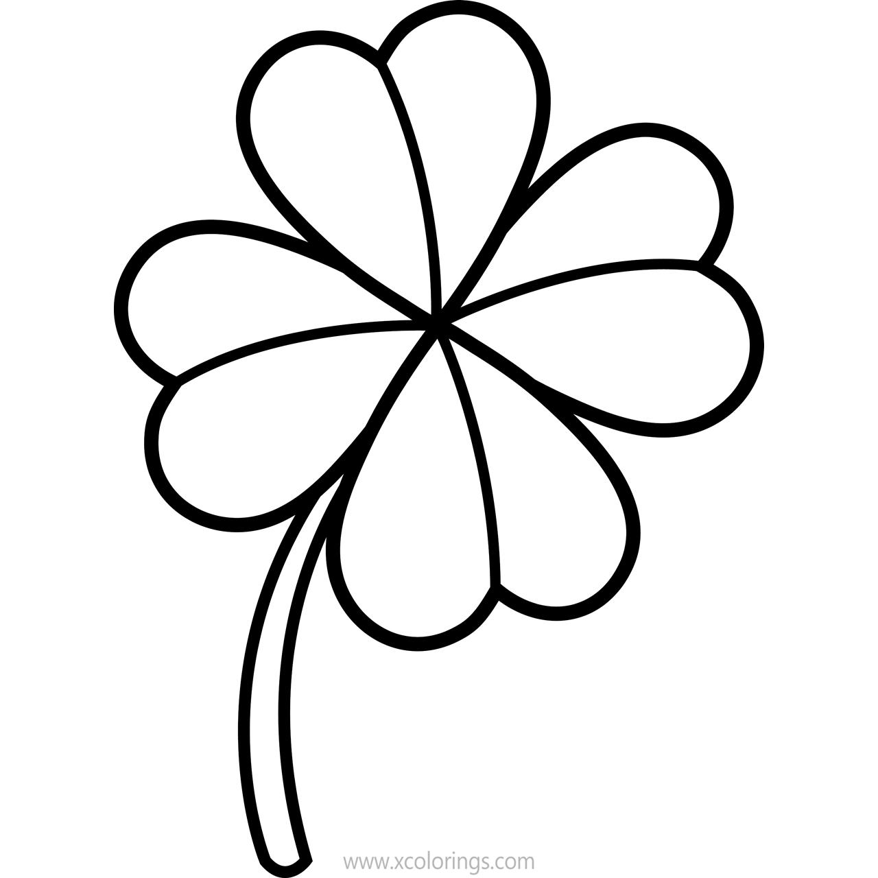 Free Irish 4 Leaf Clover Coloring Pages printable