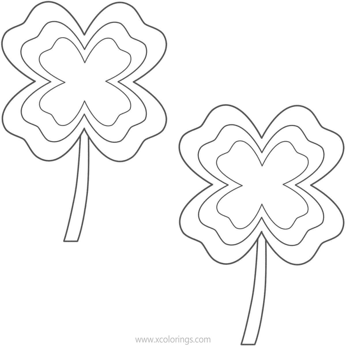 Free Two 4 Leaf Clovers Coloring Pages printable