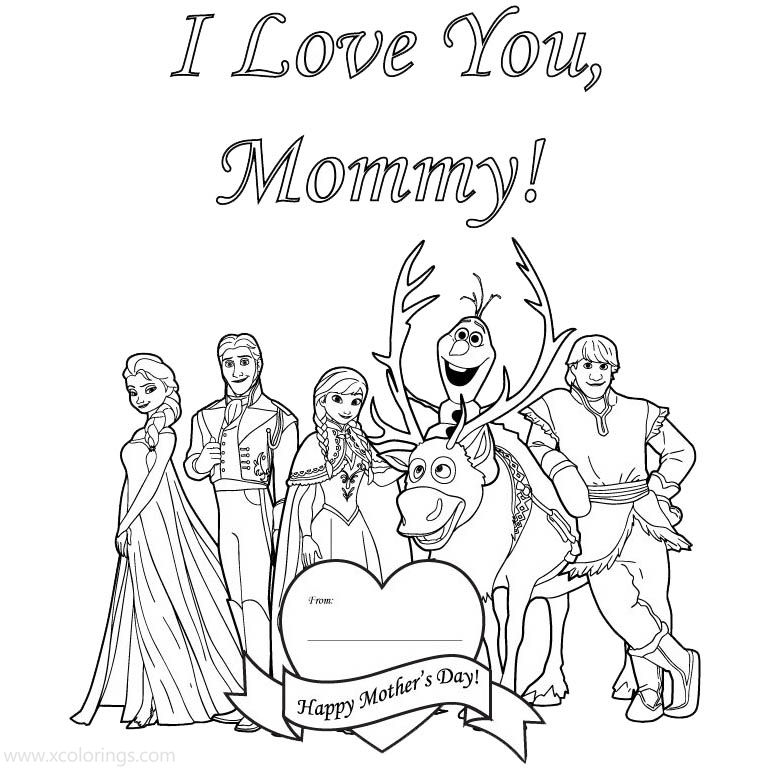 Mother's Day Coloring Pages Disney Frozen - XColorings.com