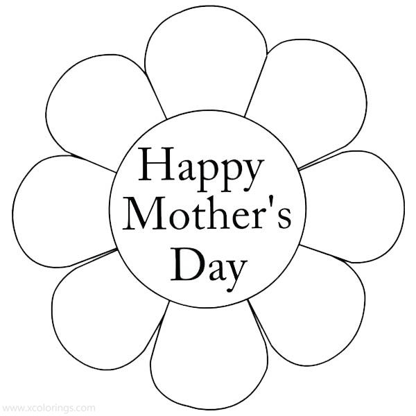 Mother's Day Coloring Pages Simple Flower - XColorings.com